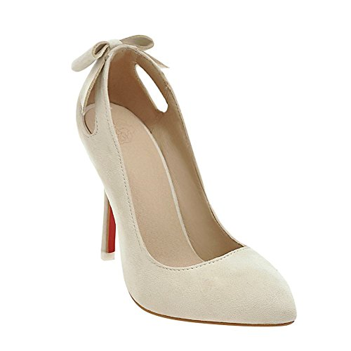 Mee Shoes Women's Sweet High Heel Bow Pierced Pointed Toe Court Shoes Beige 5I58uCxkQ8