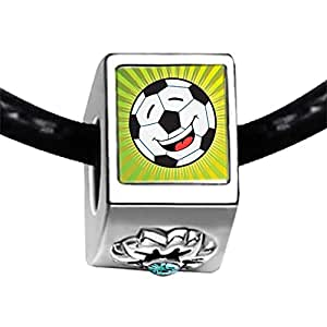 Chicforest Silver Plated Sports Soccer Photo Blue Aquamarine Crystal March Birthstone Flower Charm Beads Fits Pandora Charm Bracelet