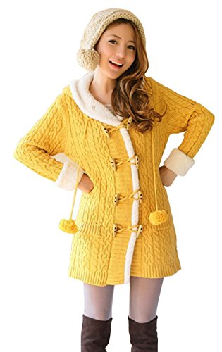Gihuo Women's Thickened Fleece-Lined Cable Knit Hooded Cardigan Sweater Coat with Pompoms (Yellow, (Fleece Lined Hooded Cardigan)