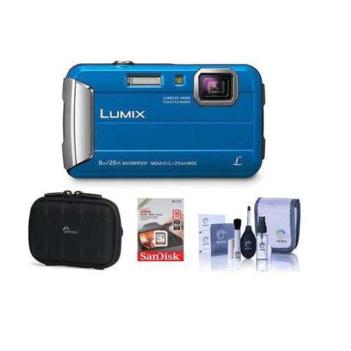 (Panasonic Lumix DMC-TS30 Digital Camera, 16.1MP Blue - Bundle Camera Case, 16GB Class 10 SDHC Card, Cleaning Kit)