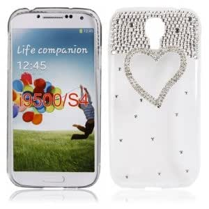 Colorful Plastic Protective Case with Rhinestone Frame Heart Shape for Samsung i9500 Transparent