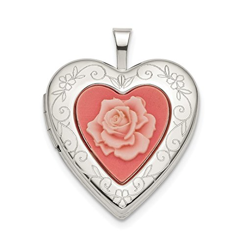 925 Sterling Silver 20mm Pink Resin Rose Cameo Heart Photo Pendant Charm Locket Chain Necklace That Holds Pictures Fine Jewelry Gifts For Women For ()