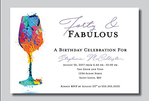 Custom Birthday Party Invitation - Forty and Fabulous, Paint Party, Personalized (20 count) (40th Birthday Party Invitations)
