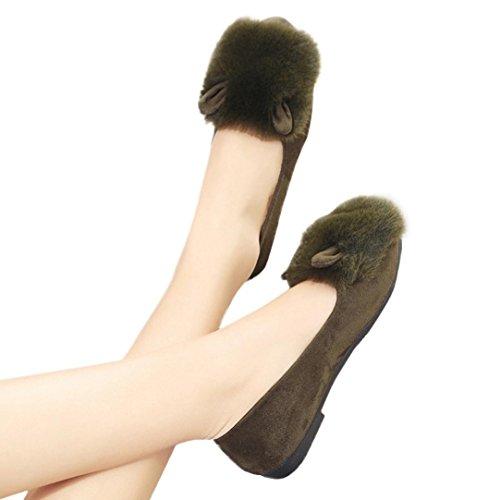 Kvinner Flat Tøffel, Inkach Chic Jenter Flip Flops Faux Fuzzy Pels Lysbilde Slip På Flat Sandal Sko Tøffel Grønn