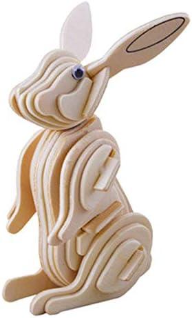 RABBIT Woodcraft Construction Kit KIDS \ ADULTS 3D Wooden Model Puzzle M004