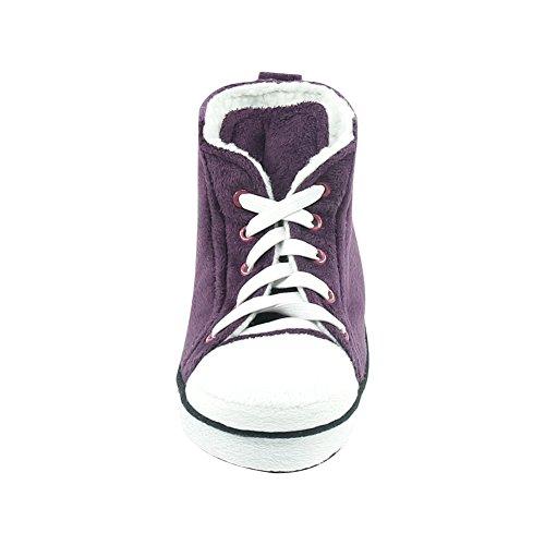 Gohom Womens Warm Winter Indoor Slipper Boots House Dark Purple&white IcsJsG