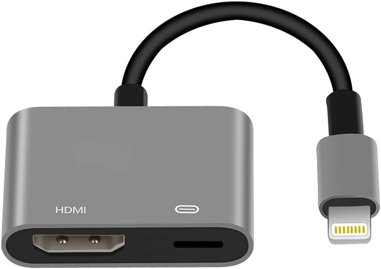 Lightning to HDMI Adapter, Apple MFi Certified 1080P Video & Audio Digital AV Hub Adapter Sync Screen Converter with Charger Cable for iPhone 12/11/XR/iPad on HDTV/Projector/Monitor (Gray)