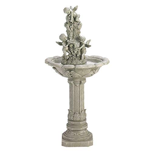 AK Energy Victorian Cherub Angel Shabby Resin Statue Bird Bath Outdoor Garden Patio Fountain 42