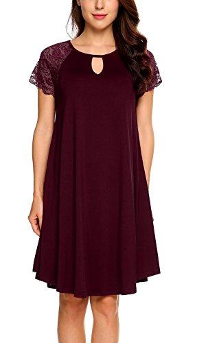 Renflements Femmes Dentelle Robe Tunique À Manches Courtes Coupe Ample Robe T-shirt Solide Vin Rouge