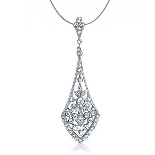 Crystal Bridal Pendant (Art Deco Style Leaves Crystal Bridal Pendant Necklace)