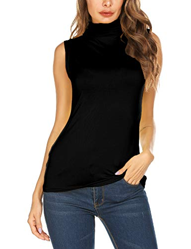 AKEWEI Womens Sleeveless Tops Turtleneck T Shirt Mock Basic T-Shirts Black XXL