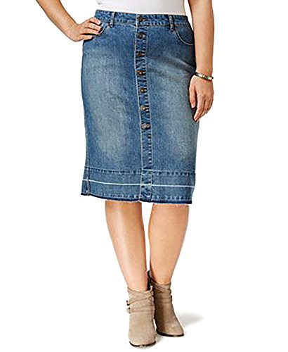 Style & Co. Plus Size Button-Front Denim Skirt (16W)