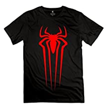 Yisw Men's Spiderman Red Logo T-Shirt L Black 100% Cotton Funny T Shirts