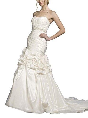 GEORGE Blume Brautkleider Applikationen Taille Weiß Rock BRIDE mit Hochzeitskleider Pick Rueschenband Perlen Up Traegerlos rnrR4SH