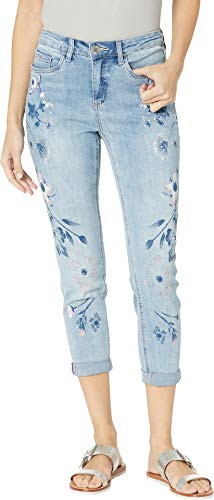 FDJ French Dressing Jeans Women's Statement Denim Painted Margaritas Olivia Roll-Up Crop in Cool Blue Cool Blue 12 24.5