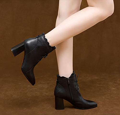 Puntiagudos Con Botines Invierno Zapatos Tacón Mujer A Femeninos Martin De Gruesos Botas Alto Cuero XrwqqYWExt
