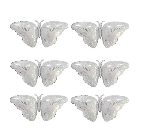 6pcs Butterfly Foil Balloon Aluminum Foil Mylar Helium Party Balloon for Wedding Birthday Party Decoration - Silver