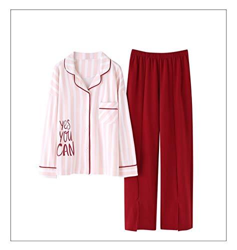 Pueden Usar Se Camisón Y Algodón Rayas A Del Fuera Pijamas Rojas Servicio Domicilio Traje Mujeres Baujuxing 100 Otoño Xl Camisones De M Primavera q7Op86