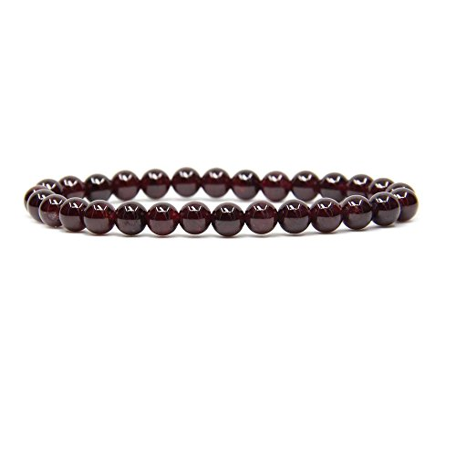 """Natural AA Grade Red Garnet Gemstone 6mm Round Beads Stretch Bracelet 7"""" Unisex"""