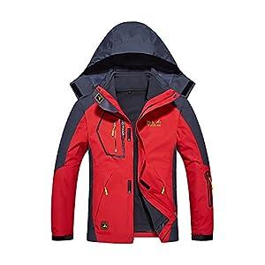 Quicksilk Men's Mountain Waterproof Fleece Ski Jacket Windproof Rain Jacket (2XL, 3-in-1 Red)