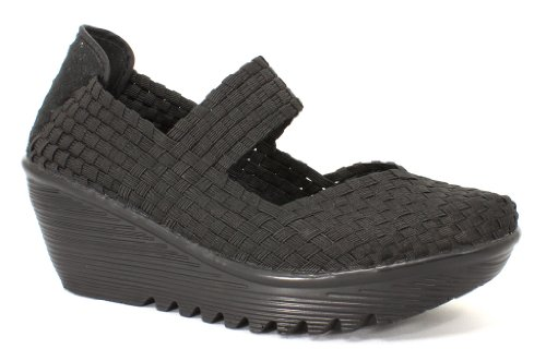 Bernie Mev Women's, Lulia Slip-on Wedge Shoe BLACK 3.8 M