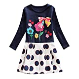 Suma-ma (3T-7T) Toddler Baby Girls Lovely Long Sleeve Cartoon Print Dot Bowknot Dress Outfits Clothes, Children's Casual Daily