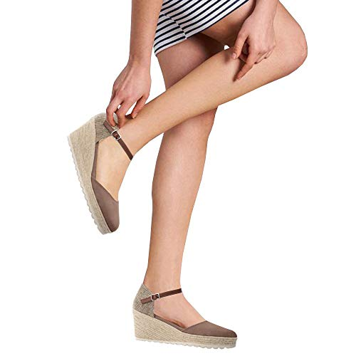 Ermonn Womens Peep Toe Platform Wedge Sandals Espadrille Ankle Strap Mid Heel Braided Sandals (8, D-Coffee)