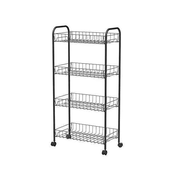 SEVVY 4 Tier Metal Mesh Kitchen Rolling Cart Mesh Storage Shelving Trolley Rolling Household Cart with Wheels - Black