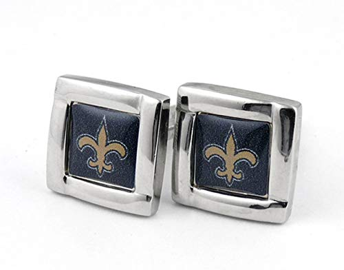 (NFL New Orleans Saints Logo Square Cufflinks with Gift Box Set, One Size, Silver)