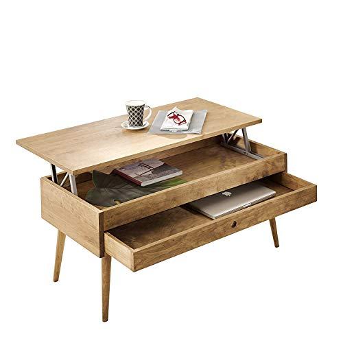Hogar24-Mesa de centro elevable con cajon deslizante diseno vintage, madera maciza natural. 100cm x 50cm x 47cm