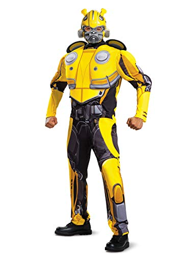 Disguise Men's Bumblebee Movie Classic Muscle Adult Costume, Yellow, L/XL (42-46) -