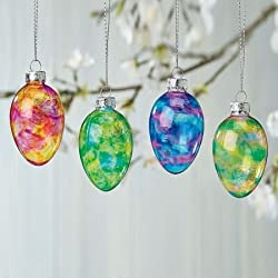 "Stained Glass Easter Egg Ornaments - Set of 12; 3 of each color,1-1/2"" x 2"", with hanging strings. Easter Decor"