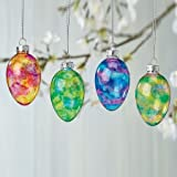 #5: Stained Glass Easter Egg Ornaments - Set of 12; 3 of each color,1-1/2