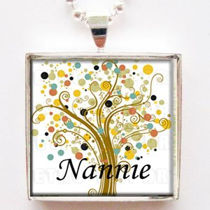 Nannie Grandmother Tree of Life Glass Tile Pendant Necklace with Chain