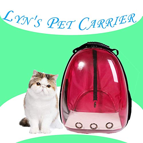 Lyn's Pet Carrier, Hard-Sided Pet Bag, Cat/Dog Bubble Backpack, Pet Travel Bag, Small Space Pet Capsule Knapsack, Waterproof Breathable Pet Carrier Airline Approved (Pink)