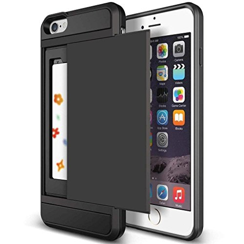 iPhone 6s Plus Case, Anuck Shockproof iPhone 6s Plus Wallet Case [Card Pocket] Anti-Scratch Protective Shell Rubber Bumper Case with Slide Card Holder Slot for Apple iPhone 6 Plus 6s Plus - Black
