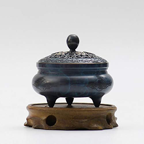Antique Incense Burners - JIAHE115 Individual Aromatherapy Stove HJCA Pure Copper Incense Burner Indoor Aromatherapy Furnace Antique Purifying Air Zen Incense Sandalwood Furnace Solid Wood Base Diameter 9CM High 8CM Ca