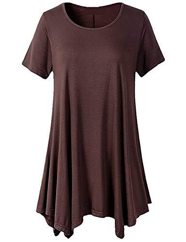 Moda Tshirt Shirt Giovane Monocromo Eleganti Casual Shirt Manica Moda Shirt Donna Rotondo T Stile Baggy Estivi Modern Collo Corta Accogliente Irregular Top Magliette q6waRtFxnR