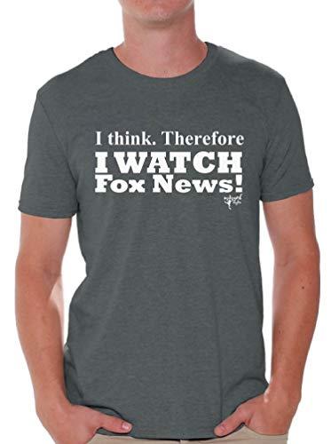 Awkward Styles I Watch Fox News T-Shirt Political White Shirt M Charcoal