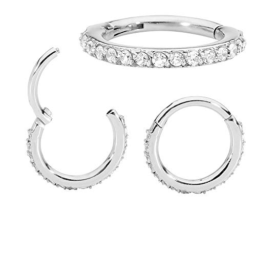 365 Sleepers 1 Pair Stainless Steel 16G Hinged Gem Segment Ring Hoop Sleeper Huggie Earrings (14mm -