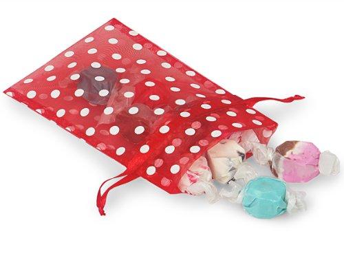 Sheer Printed Polka Dot Organza Bags- Red & White Dots 4x6 Polka Dot Organza Bags (9 Packs; 10 Bags Per Pack) - WRAPS-B52212