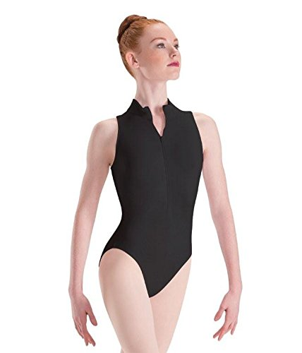 Motionwear Zip Front Mock T High Cut Leotard, Black, Medium Adult