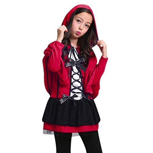 Shybuy Baby Children Girls Halloween Party Costumes Long Sleeves Dress with Hooded Cloak (Red, ()
