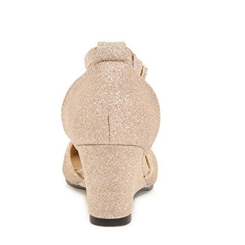 Y2Y Studio Femmes Sandales Talon Compenses Confortables Ete Pointu Brillant Chic Mode avec Strass pour Soirée et Mariage Or 9eWYEBcYVX