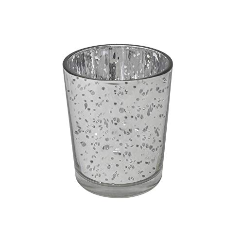 gbHome GH-6831SL75 Votive Tea Light Candle Holder, Speckled Silver Metallic Finish, Lead Free Thick Mercury Glass, Set of 75, 2