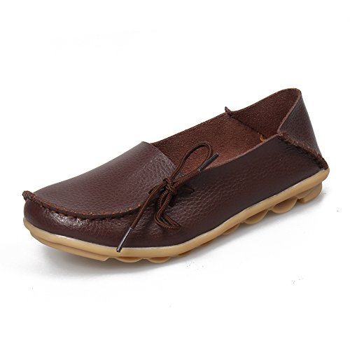 SUNROLAN Womens Leather Cowhide Casual Lace-up Slipper Slip-on Loafers Flat Driving Shoes Dark Brown