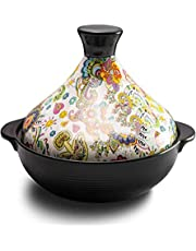 Tagine Pot Moroccan Le Creuset Outlet - Tajine Ceramic Pots for Cooking - Tajeen Pots Slow Cooker - Tagin Mexican Clay Pots for Cooking - Stew Casserole Slow Cooker Tajine Cooking Pot