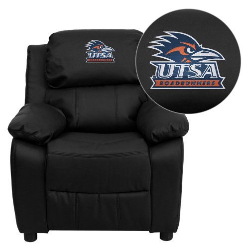 Flash Furniture Texas at San Antonio Roadrunners Embroidered Black Leather Kids Recliner with Storage Arms (San Clearance Furniture Antonio)