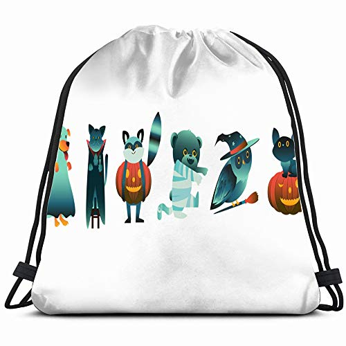Cartoon Halloween Animal Characters Spooky Costumes Holidays Signs Symbols Drawstring Backpack Gym Sack Lightweight Bag Water Resistant Gym Backpack For Women&Men For Sports,Travelling,Hiking,Camping,]()