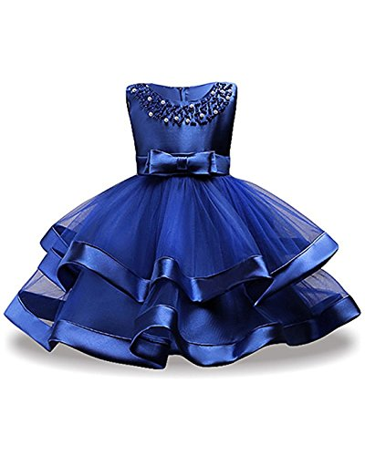 Dress For Little Girls 7-8 Short Bridesmaid Lace Dresses Ball Gown 8 Years Old Summer Wedding Pageant Dress For Kids Blue Lace Tutu Tulle Girl Special Occasion Dresses Size 7-9 Sleeveless (Blue 32) - Childrens Special Occasion Dresses